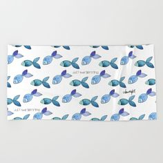 Lay out like a pro with this super comfy, oversized and unique artist-designed…  fish, nature, ocean, sea, color, aqua, blue, swim, watercolor, handmade, digital art, art, painting, illustration, design, pattern, ahudesigns, artist, artistic