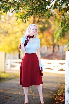 Rachel Ann Jensen ♥: Farm in the Fall Cute Skirt Outfits, Cute Skirts, Vintage Dress Patterns, Vintage Scarf, Old Dresses, Vintage Dresses, Kate Middleton Coat, Blue Shoes Outfit, Burgundy Skirt
