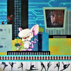 #Original #Abstract #Painting #Encaustic #MixedMedia #Science #Technology #Wax #Courage #Avatar #Computer #AI #Brain #Sensor #Binery  #Education #Creative
