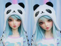 SD BJD Pullip Dollfie Dream Hat Panda by cyristinecreations