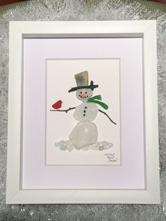Snowman with Cardinal - Unique Gift - Sea Glass Art - Shadowbox, Home Gift - Coastal Decor - Nautical Wall Art - Winter Gift - Holiday Gift by MainlyMaineSeaglass on Etsy