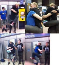 dan and phil meeting an excited fan :3