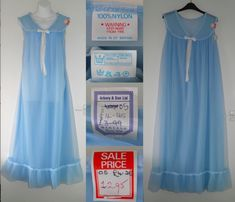 3c4a58816bcd 1970's Vintage Blue Sheer Double Layer Nylon Long Babydoll Nightie Night  Dress Gown 42 44 OS