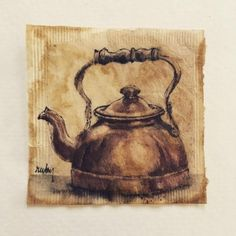 Tea Bag Art, Tea Art, Collages, Autumn In New York, T Bag, Happy October, Coffee Painting, Coffee Art, Illustrations