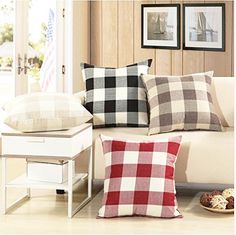 5e3372255c Valentines Day Decorations Red and White Christmas Plaid Throw Pillow Cover  Retro Buffalo Checkers Decorative Pillowcase