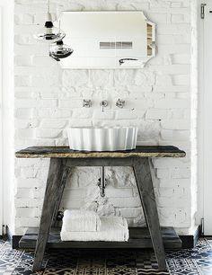 rustic cabin bathroom, salvaged stand, White Brick Walls