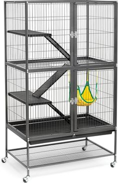 Prevue Pet Products Feisty Ferret Home features four levels of living and play space. There's lots of room for your fun loving, energetic ferret to run, jump and play. The cage is complete with ramps, shelves and a hammock for countless hours of fun for your fuzzy friend. Removable platforms, grille and bottom tray make cleaning a cinch. The wheel cart stand makes it easy to move your ferret's home from room to room. Plus, there's space-saving shelves for toys, supplies and treats.