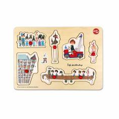 Ikonic Toys Houten puzzel 'De Rode Kraanwagen', Fiep Westendorp - € 12,50