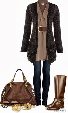 """""""Style This Dress: Casual Days"""" - Really nice.But WHY are so many women afraid of adding COLOR to these eternally neutral outfits? Fall Outfits For Work, Fall Winter Outfits, Autumn Winter Fashion, Winter Clothes, Casual Dresses, Casual Outfits, Cute Outfits, Classic Dresses, Look Fashion"""