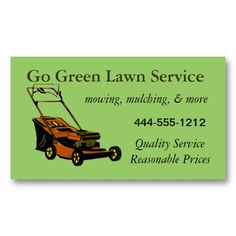 Summer lawn services business card lawn service and card templates lawn service business card with mower customizable flashek Image collections