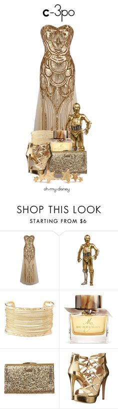 """C-3PO"" by oh-my-disney ❤ liked on Polyvore featuring Charlotte Russe, Burberry, Element, GUESS, Pernille Corydon, disney, disneybound and starwars"
