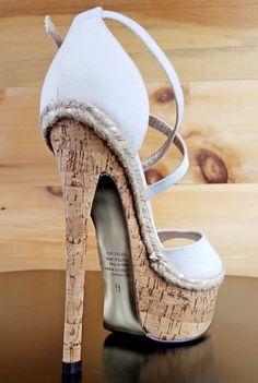 Luichiny Le Andra White Linen Cork Platform Stiletto Heel