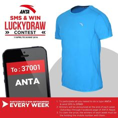 ANTA SMS & WIN CONTEST! Type ANTA & send SMS to 37001 You will receive an auto-reply and winners will be announced at the end of each week via ANTA NEPAL Facebook page. 2 Lucky Winners will win the attractive gifts from ANTA SMS NOW!