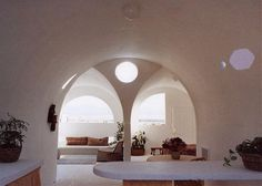 CalEarth inside of the vaulted earthbag house