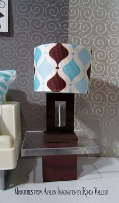1:6th Scale Barbie or Blythe miniature dollhouse lamp in dark wood with turquoise, aqua, and chocolate brown lamp shade