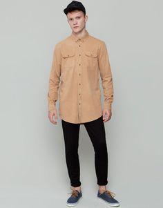 Pull&Bear - man - shirts - oversized shirt - ochre - 05472572-I2015