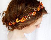 fall wedding, hair clip, autumn wedding, fall flower, hair accessory - WILDWOOD BRAMBLE - burnt orange flower. $55.00, via Etsy.