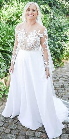 24 Graceful Plus Size Wedding Dresses ❤️ plus size wedding dresses a line with illusion long sleeve lace for full size elbeth gillis ❤️ Full gallery: weddingdressesgui… Source link Plus Wedding Dresses, Chiffon Wedding Gowns, Sweetheart Wedding Dress, Colored Wedding Dresses, Perfect Wedding Dress, Plus Size Wedding, Boho Wedding Dress, Wedding Dress Styles, Size 12 Wedding Dress