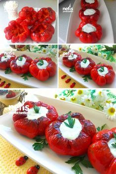 How to Make Portioned Red Pepper Haydari Recipe? Illustrated explanation of this recipe in the book Food Decoration, Homemade Beauty Products, Freezer Meals, Caprese Salad, Tapas, Brunch, Food And Drink, Veggies, Appetizers