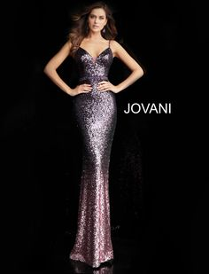 Jovani 65847 sequin prom dress with spaghetti straps, sleeveless fitted bodice, plunging neck and low back cut-out, beaded belt and floor-length fitted skirt with ombre end. Sequin Prom Dresses, Jovani Dresses, Designer Prom Dresses, Pageant Dresses, Sequin Dress, Formal Dresses, Dress Prom, Formal Wear, Homecoming Dresses