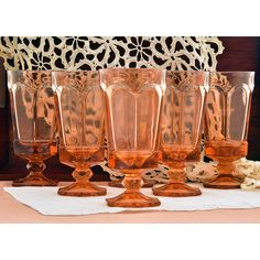 Water Goblets Iced Tea Glasses Fostoria Virginia Peach Drinking... ($42) ❤ liked on Polyvore featuring home, kitchen & dining, drinkware, fostoria glasses, virginia peach, water goblets, colored glass drinkware, colored water goblets, glass water goblets and glass drinkware