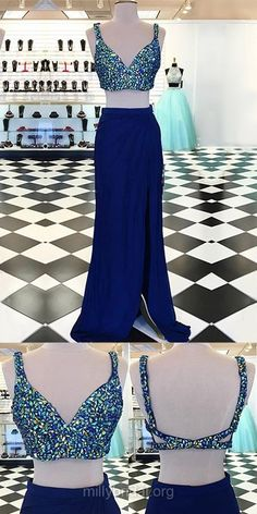 Two Piece Prom Dresses Blue, Long Prom Gowns V-neck, Backless Party Dresses 2018 Inexpensive, Sheath/Column Formal Evening Dresses Chiffon