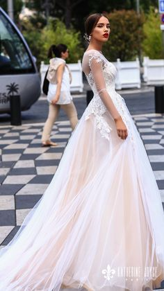 katherine joyce 2018 bridal long sleeves sheer jewel neck sweetheart neckline heavily embellished bodice tulle skirt romantic blush a line wedding dress sheer back chapel train (dolores) sdv -- Katherine Joyce 2018 Wedding Dresses