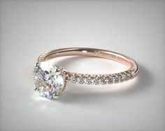 """I am not sure how this is different from the other one that says """"flush fit"""" 56268 engagement rings, pave, 14k rose gold petite pave engagement ring item - Mobile"""