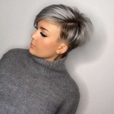 Hair coloring inspirational using charming short hairstyles Silver hair essentials on 45 trendy short hair cuts for women 2018 popular short hairstyle. Short Grey Hair, Short Hair Cuts For Women, Short Hairstyles For Women, Cool Hairstyles, Short Hair Styles, Hairstyle Short, Hairstyles 2018, Style Hairstyle, Pixie Hairstyles