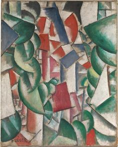 """Houses under the Trees by Fernand Léger, dated 1913...part of the exhibition """"The Leonard A. Lauder Cubist Collection"""""""