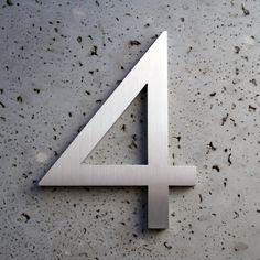 Modern House Number Aluminum Modern Font Number Four 4 - ...