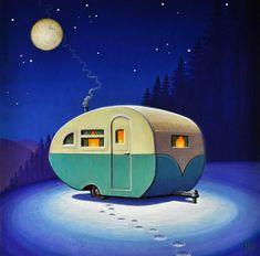 Retro Kunst, Retro Art, Vintage Art, Retro Caravan, Retro Campers, Vintage Campers, Vintage Caravans, Vintage Trailers, Illustrations