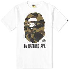 A Bathing Ape 1st Camo By Bathing Tee (White & Green)