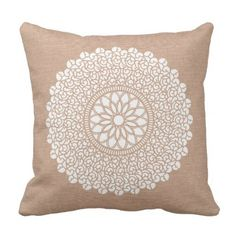 Beautiful Throw Pill with Doily Design Throw Pillow  $32.90  by LHdesigns  - cyo diy customize personalize unique