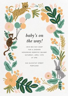 Celebrate your most important occasions with Rifle Paper Co.'s illustrated invitations and cards—including customizable wedding invitations and stationery, too. Birthday Invitations Kids, Online Invitations, Baby Shower Invitations, Invites, Paperless Post, Virtual Baby Shower, Baby Shower Cards, Invitation Design, Invitation Ideas