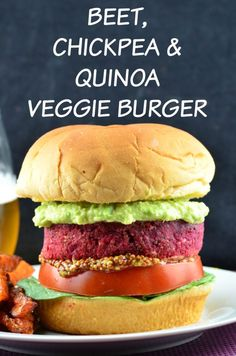 Maille mustard gives this vegan beet, chickpea and quinoa veggie burger a burst of flavor. Special Giveaway: win a trip to Burgundy France. Burger Food, Vegan Vegetarian, Vegetarian Recipes, Vegan Food, Vegetarian Barbecue, Beet Recipes, Healthy Recipes, Soup Recipes, Vegan Recipes