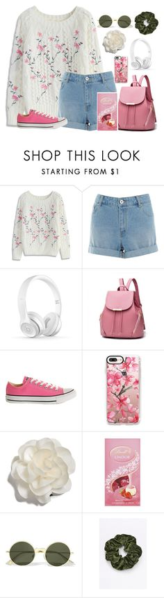 """Pink white and green"" by isabellefashion23 ❤ liked on Polyvore featuring Chicwish, Converse, Casetify, Cara and Le Specs"