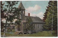 Apostle Islands, Wisconsin, View of Old Mission Church, Madeline Island, 1908 La Pointe, Old Churches, Wisconsin, Islands, Germany, Florida, United States, House Styles, Prints