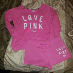 NEW VS PINK SET Large top Medium bottoms On mercarii for $66 shipped PINK Victoria's Secret Tops Sweatshirts & Hoodies