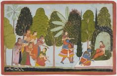Krishna Selects Radha as His Favorite Gopi.  Opaque watercolor and gold on paper, Udaipur, Mewar Region, Rajasthan, 1750-1751