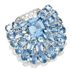A Cartier aquamarine-and-diamond clip, 1935. Sold by Sotheby's.