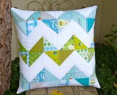 chevron quilted pillow by small quilts