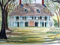 Parlange Plantation - 11 X 14 Signed Art Print Antebellum home by Louisiana Artist Kristi Jones Art Grants, Antebellum Homes, Watercolor Artwork, Art Studies, House Painting, Landscape Art, Home Art, Art Museum, Creole Cottage