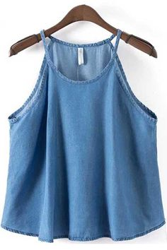 b9d3431acc1a8 Blue Spaghetti Straps Sleeveless Denim Top