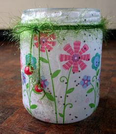 An empty salsa jar (clean, of course), some pretty tissue paper mod podged to the outside, some string and you've got a candle holder cute idea for mothers day! Home Crafts, Arts And Crafts, Diy Crafts, Fathers Day Gifts, Gifts For Kids, Diy Father's Day Gifts Easy, Empty Candle Jars, Mod Podge Fabric, Tissue Paper