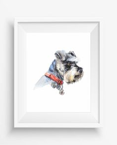 Schnauzer, Portrait of a dog,Schnauzer Print,Watercolor,pet decor,dog wall art,digital prints