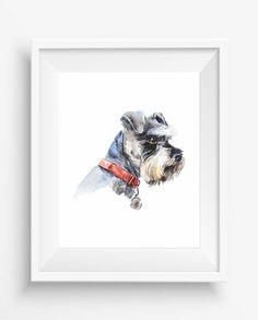 Schnauzer, Portrait of a dog,Schnauzer Print,Watercolor,pet decor,dog wall art,digital prints