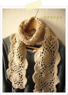 Lace crochet scarf--- would make this wider, but this is lovely