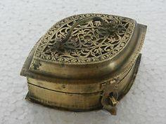 Old Brass Floral Engraved Unique Shape Betel Nut Box
