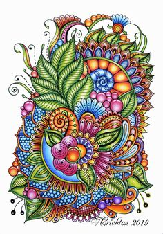 Zentangle art, zentangle gems and droplets, doodle flowers, colour pencils. Flower Art Drawing, Doodle Art Drawing, Zentangle Drawings, Mandala Drawing, Mandala Painting, Art Drawings, Zentangle Art Ideas, Zentangle Patterns, Zentangles